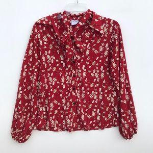 Jane Wood Floral Button Down Blouse Size 2 #1375